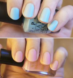 Matte Pastel Nails!  Colors: Opi - What's with the Cattitude and Barry M - Strawberry (via  Into-mind.com)