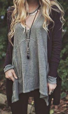 #fall #fashion / gray knit + oversized cardigan