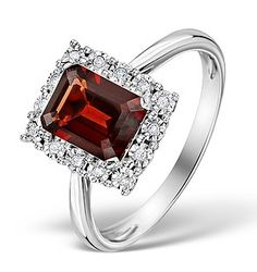 Garnet 8 x 6mm and Diamond 9K White Gold Ring - Item E5896. #thediamondstoreuk #garnetring #engagementring #engagement #ring #garnet #diamonds #jewellery