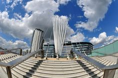 Steps to Media City footbridge in Media City, Salford Quays, England