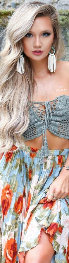 Boho Chic bohemian style two piece set summer tassel fringe fashion gypsy look
