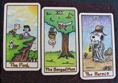 Peanuts tarot cards  created for the Cincinnati Secret Artworks project