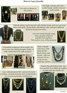 Fashion Tip - layering jewelry. Wish I could give proper credit, but Google Image Search and Tineye couldn't find the source.
