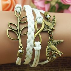 Bracelet-copper lover birds bracelet,luck leaf bracelet,white braid leather