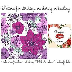 Purple Flowers: Pattern for stitching, crocheting or beading