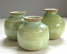 3 little rustic pottery vases perfect for your от JDWolfePottery, $24.00
