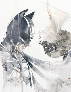 **Does anyone know who the artist is? ***  batman catwoman watercolor
