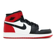 2dd8b835460 New Arrival AIR JORDAN 1 RETRO HIGH OG GS BLACK TOE white black-gym red