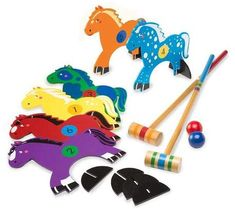 Take the classic outdoor fun of croquet, add a kid-friendly pony theme,… Outdoor Yard Games, Kids Outdoor Play, Outdoor Fun, Custom Cornhole Boards, Cornhole Set, Summer Activities For Kids, Games For Kids, Cornhole Lights, Horse Rugs