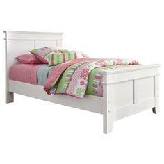 Signature Design By Ashley Iseydona Vintage Casual White Twin Platform Bed    Turk Furniture   Platform