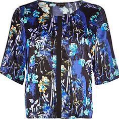Blue floral print boxy crop top £30.00
