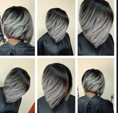 Grey Bob on dark hair
