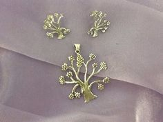 Silver Life Tree Pendant and Earrings