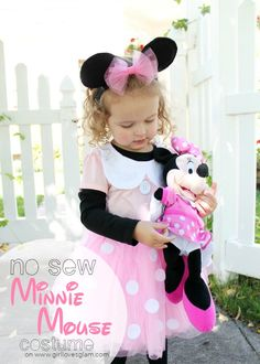Easy DIY no sew Minnie Mouse costume with full instructions that is sure to please any Disney fan!: Easy DIY no sew Minnie Mouse costume with full instructions that is sure to please any Disney fan! Halloween Costumes Pictures, Disney Halloween Costumes, Last Minute Halloween Costumes, Girl Costumes, Diy Halloween, Costume Ideas, Mickey Halloween, Halloween 2019, Halloween Stuff