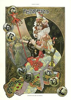 of the month of February- Gaspar Camps Album Living Magazine January 1901 -Hemeroteca of the National Library of Spain Illustration Art Nouveau, Art Nouveau Poster, Vintage Artwork, Vintage Posters, Alfons Mucha, Design Art Nouveau, Modernisme, Illustrations And Posters, Retro