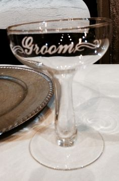 Matching champagne glass for the groom