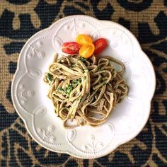 """This isn't just any pesto pasta! Chef Sergio Dussin, known as """"il Cuoco del Papa"""" (which translates to """"the chef for the Pope""""), created this pesto to serve with our skinnypasta HIGH PROTEIN Linguine at the Vatican. We loved it so much that we asked him to share it with us — and with you! Find the full recipe on our website. #skinnypasta #pesto #linguine #vegetarian #protein #pasta #healthy #delicious #italian #recipe #gastropost #nourishpassionforlife"""