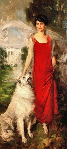 Official portrait of Grace Coolidge, posing with her dog, Rob Roy. (One of the best First Lady portraits, IMO.)