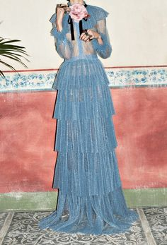 Dreaming of this Gucci sheer blue tiered dress