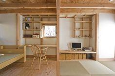 柏の平屋 ねじれ屋根のせ: 千田建築設計が手掛けたオリジナル書斎&オフィスです。