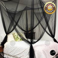 LIFE Four Corner Post Bed Black Canopy Mosquito Net Full Queen King Size Netting *** Click on the image for additional details.