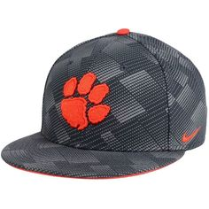Nike Clemson Tigers Anthracite Snapback Cap ($32) ❤ liked on Polyvore featuring men's fashion, men's accessories, men's hats, anthracite, mens snapback hats, mens caps and hats and mens sports hats