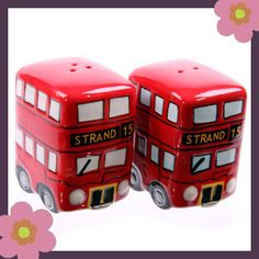 London Routemaster Red Bus ceramic salt & pepper set. A nice gift, part of our london themed gifts at www.gifts4fun.com £5.49