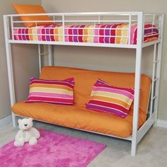 Sunrise Twin/Futon Bunk Bed by Walker Edison Barbie Furniture, Dollhouse Furniture, Furniture Vintage, Furniture Ideas, Twin Futon, Futon Bunk Bed, Bed Couch, Bed Mattress, White Bunk Beds