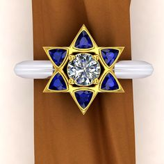 Star Of David Ring Sapphire and Diamond in Platinum by jetflair, $5800.00