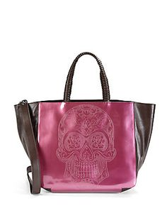 Nada Sawaya Skull Patent Leather Tote
