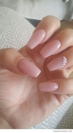 Cute nude nails with diamonds