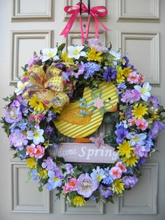 """""""Welcome Spring"""" Easter Grapevine Ivy Floral Door Wreath Yellow Chick - Decor"""