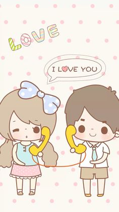 Wallpaper Kawaii Cute Wallpapers, Kawaii Wallpaper, Wallpaper Iphone Cute, Love Wallpaper, Cartoon Wallpaper, Phone Wallpapers, Love Cartoon Couple, Chibi Couple, Cute Love Cartoons