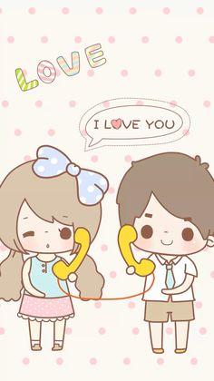 Wallpaper Love Cartoon Couple, Chibi Couple, Cute Love Cartoons, Cute Love Couple, Anime Love Couple, Cute Anime Couples, Kawaii Cute Wallpapers, Kawaii Wallpaper, Wallpaper Iphone Cute