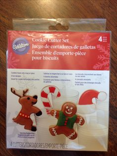 Wilton 4 piece cookie cutter set.  Cookies hook onto mug or glass.  Reindeer, candy cane, Santa hat and gingerbread man.