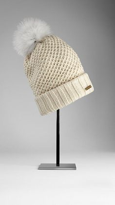 Fur Pom-Pom Beanie | Burberry. A warm wool cashmere beanie with fur pom-pom. Finished with a ribbed hem.