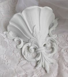 White Rococo Vintage Floral Homco Hollywood Chic Cottage Wall Plaque Romantic | eBay