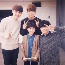 D.O, Baekhyun, Chanyeol and the younger version of Chanyeol; Exo Next Door