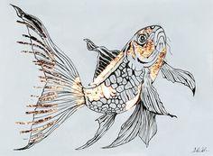 Rosegold Auflage Painting, Fish, Artworks, Painting Art, Paintings, Drawings