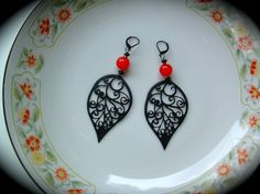 Red and Black Statement Earrings bold by practicallyfrivolous, $22.00