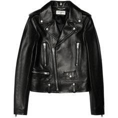 Leather biker jacket Saint Laurent (€3.490) ❤ liked on Polyvore featuring outerwear, jackets, leather jacket, coats, tops, biker jackets, yves saint laurent jacket, genuine leather biker jacket, rider jacket and leather motorcycle jacket