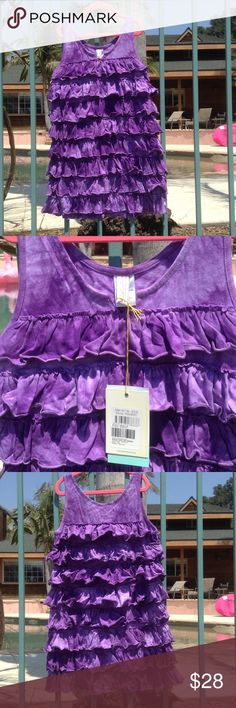 "Purple Tie Dye Ruffled Dress This cute dress features layers of fun ruffles. 100% cotton, and super comfy. Trendy purple tie dye print throughout. Size 10 measures 26"" from top of shoulder to bottom. Size 12 and 14 measure 29"". 2Chillies Dresses Casual"