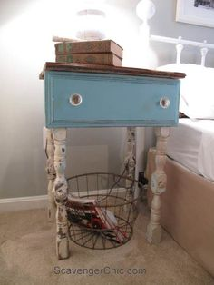 Repurposed Drawer side Table