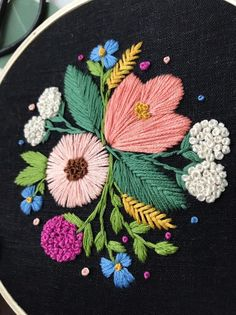 ideas for embroidery art flowers etsy Hand Embroidery Flowers, Embroidery On Clothes, Modern Embroidery, Hand Embroidery Designs, Embroidery Applique, Floral Embroidery, Embroidery Stitches, Embroidery Patterns, Flower Pattern Drawing