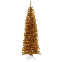 $449.99-$559.99 10' Pre-Lit Antique Gold Artificial Pencil Tinsel Christmas Tree - Clear Lights -  http://www.amazon.com/dp/B004JY7AI8/?tag=pin2wine-20