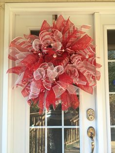 Candy cane deco wreath