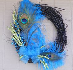 feather wreaths | Funky Jewel Tone Turquoise Lime Green Feather Wreath - Floral Decor
