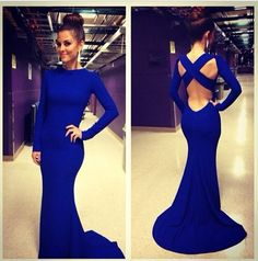 Elegant Mermaid Chiffon Royal Blue Backless Prom Dress Long with Sleeves/Evening Dress Gown/Formal Dress Gown/Cocktail Dress Gown/Custom on Etsy, $131.22 CAD