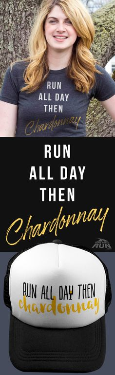 Run all day... the chardonnay! Check out our latest gifts for runners who love chardonnay!!