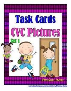 Students will complete the task cards on CVC pictures by writing the word for each picture.  The task cards can be used as a review.  Place the cards in your literacy stations so students can work independently.  There are 25 task cards, plus a cover and direction card.